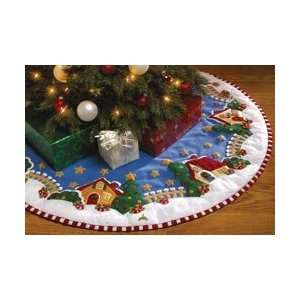 Mary Engelbreit Christmas Village Tree Skirt Felt Applique