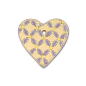 Stoneware Large Purple and Yellow Flowers Heart Pendant