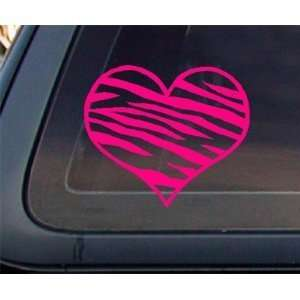 Zebra Print Heart 5.5 HOT PINK Car Decal / Window Sticker