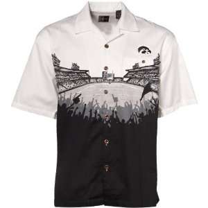 Black White Stadium Resort Full Button Camp Shirt