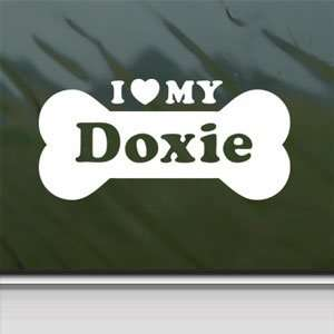 I Love My Doxie White Sticker Car Laptop Vinyl Window