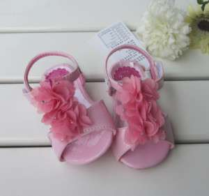 New Kids Toddlers Girls White Pink Tulle Flower Gem Sandals Shoes Size