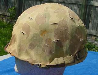 WWII US MARINE CORPS COMBAT HELMET W/ 2ND PATTERN CAMO COVER USMC