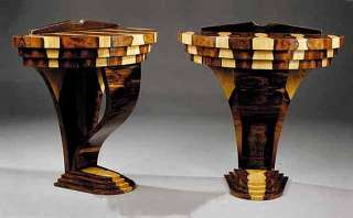 7154 Pair of Art Deco Laminated Exotic Woods Demilune Consoles