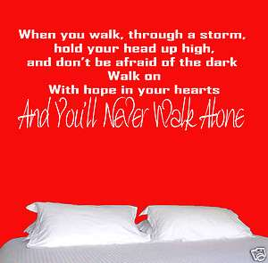WALL ART YNWA LIVERPOOL LFC WALK ON YOULL NEVER WALK ALONE WHEN YOU
