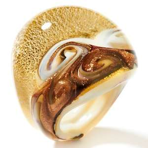 Murano Glass Swirl Design Cigar Style Band Ring