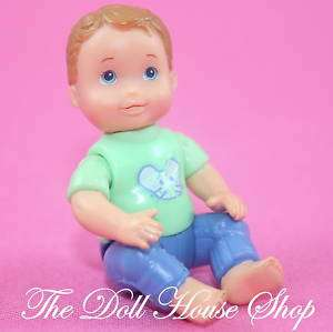 Baby Boy Doll Green top Blue Nursery Fisher Price Loving Family