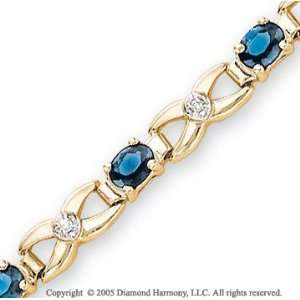 14k Yellow Gold Blue Sapphire Diamond XOXO Bracelet Jewelry