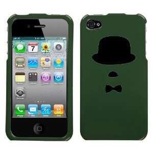 black silhouette of hat mustache bow tie design on forest green phone