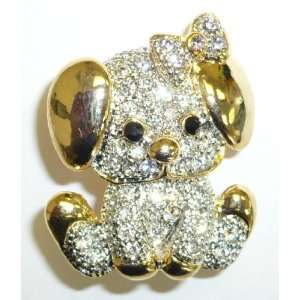 Crystal Cute Puppy with Bow Pin Jewelry