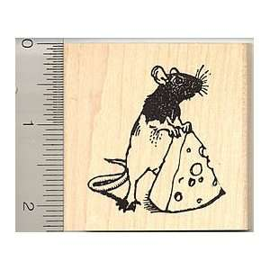 Rat with Cheese Rubber Stamp   Wood Mounted Arts, Crafts
