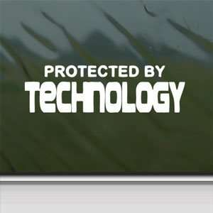 Protected By Technology White Sticker Laptop Vinyl Window