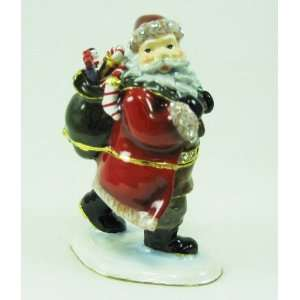Crystal Jeweled Santa Claus Hinged Trinket Box