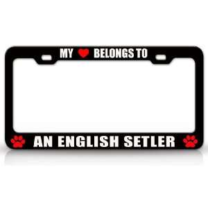 Dog Pet Steel Metal Auto License Plate Frame Tag Holder, Black/White