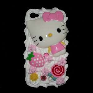 Pink Hello Kitty Strawberry 3d Cake Ice Cream Hard Back