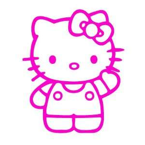 KITTY SAYING HELLO   6 HOT PINK   Vinyl Decal Sticker Automotive