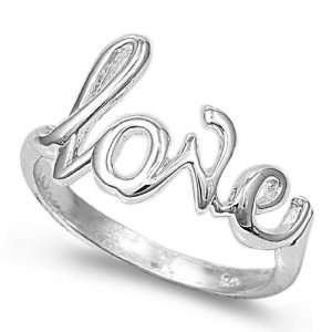 Sterling Silver Love (script) Ring, Size 4 Jewelry