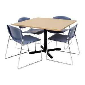 42 Square Table W/ Wide Plastic Chairs   Beige / Blue