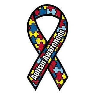 Autism Awareness   2 x 4 Mini Ribbon Magnet Automotive