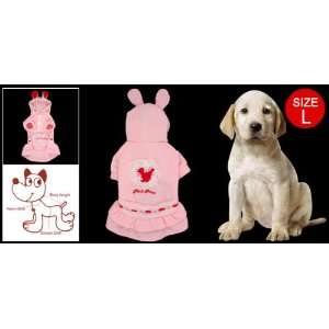 Size L Pink Cake Dress with Rabbit Design Hat for Dog