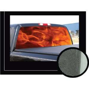 FLAMES 1 22 x 65   Rear Window Graphic   tint decal truck view thru