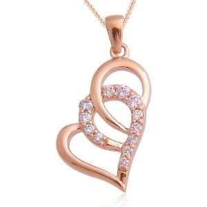 10k Rose Gold Heart Fancy Light Pink Diamond Pendant Necklace(Fancy