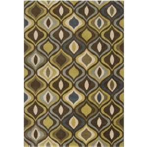 Bean and Dark Olive Green Area Throw Rug