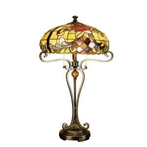 Rosalye Tiffany Table Lamp, Antique Bronze/Sand and Art Glass Shade