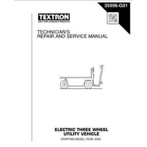 and Service Manual for E Z GO Electric Powered 3 Wheel Utility Vehicle