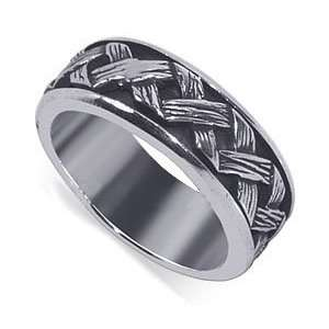 Wide Braided Woven Design Spinning Band Polished Finish Mens Ring Size