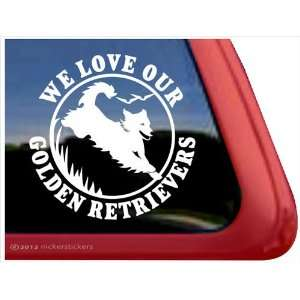 We Love Our Golden Retrievers ~ Golden Retriever Vinyl Window Auto