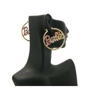 NICKI MINAJ BARBIE Thin Hoop Rhinestone Earring Small Gold