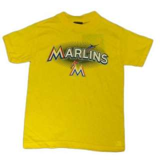 MLB Florida Miami Marlins New Logo Yellow T Shirt Medium MD Youth