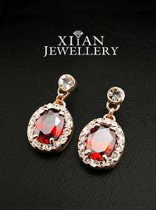 18K Rose Gold Plated Oval Swarovski Ruby Earrings E592